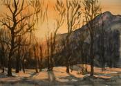 Kveldssol -2014, akvarell, 17x24cm